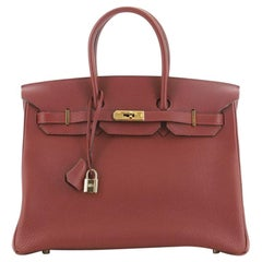 Hermes Birkin Handbag Rouge H Togo with Gold Hardware 35