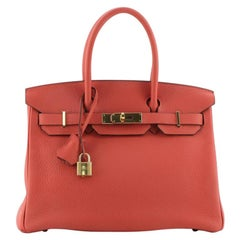 Hermes Birkin Handbag Rouge Pivoine Clemence with Gold Hardware 30