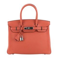 Hermes Birkin Handbag Rouge Pivoine Clemence with Palladium