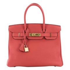 Hermes Birkin Handbag Rouge Pivoine Togo With Gold Hardware 30