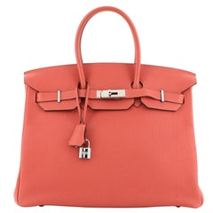Hermes Birkin Handbag Rouge Pivoine Togo with Palladium Hardware 35