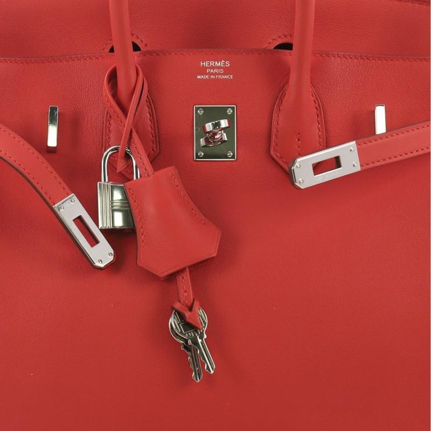 52a22e9bbb Hermes Birkin Handbag Rouge Tomate Swift with Palladium Hardware 25 at  1stdibs
