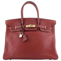 Hermes Birkin Handbag Rouge Vif Buffalo Skipper with Gold Hardware 35