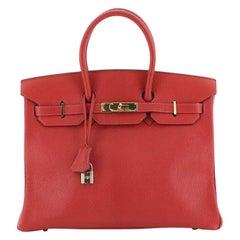 Hermes Birkin Handbag Rouge Vif Chevre De Coromandel With Gold Hardware 35