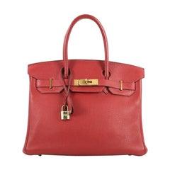 Hermes Birkin Handbag Rouge Vif Clemence with Gold Hardware 30