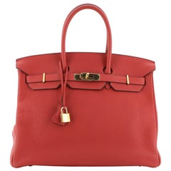 Hermes Birkin Handbag Rouge Vif Clemence with Gold Hardware 35