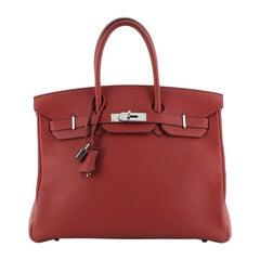 Hermes  Birkin Handbag Rouge Vif Clemence with Palladium Hardware 35