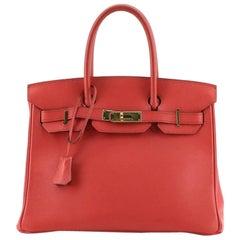 Hermes Birkin Handbag Rouge Vif Gulliver with Gold Hardware 30