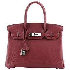 Hermes Birkin Handbag Rubis Clemence with Palladium Hardware 30