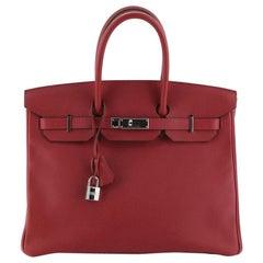 Hermes Birkin Handbag Rubis Epsom with Palladium Hardware 35