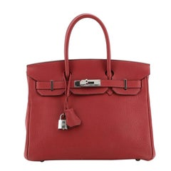 Hermes  Birkin Handbag Rubis Fjord with Palladium Hardware 30