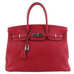 Hermes Birkin Handbag Rubis Swift with Palladium Hardware 35
