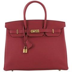 Hermes Birkin Handbag Rubis Togo with Gold Hardware 35