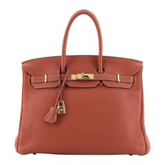 Hermes Birkin Handbag Sanguine Clemence with Gold Hardware 35