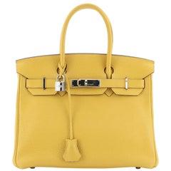 Hermes Birkin Handbag Soleil Clemence with Palladium Hardware 30