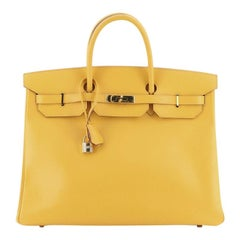 Hermes Birkin Handbag Soleil Courchevel With Gold Hardware 40