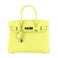 Hermes Birkin Handbag Soufre Epsom With Palladium Hardware 30