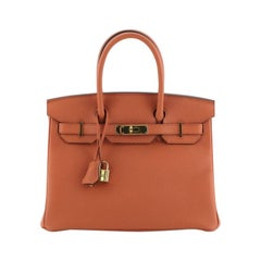 Hermes Birkin Handbag Terre Battue Togo with Gold Hardware 30