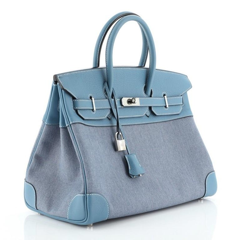Hermes Birkin Handbag Toile Jean and Bleu Jean Clemence with Palladium Hardware  In Good Condition For Sale In New York, NY