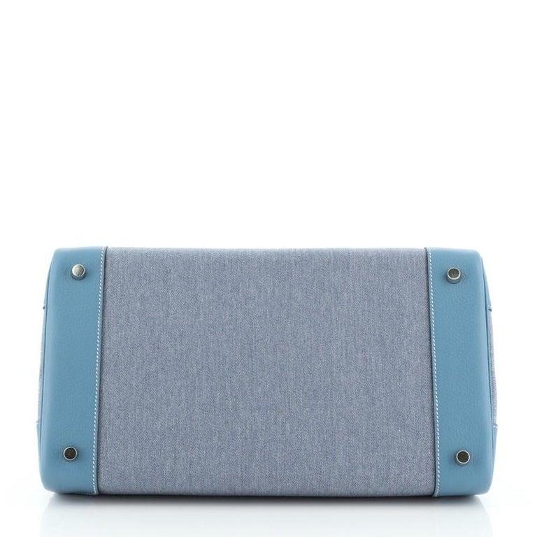 Hermes Birkin Handbag Toile Jean and Bleu Jean Clemence with Palladium Hardware  For Sale 1