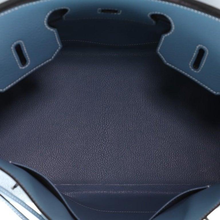 Hermes Birkin Handbag Toile Jean and Bleu Jean Clemence with Palladium Hardware  For Sale 2
