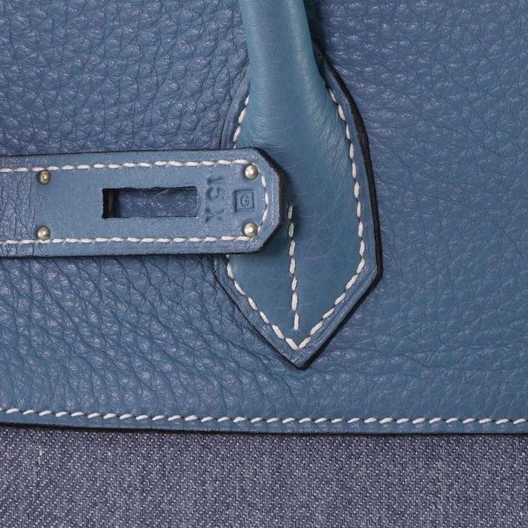 Hermes Birkin Handbag Toile Jean and Bleu Jean Clemence with Palladium Hardware  For Sale 4