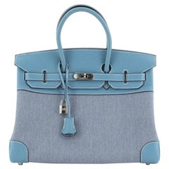 Hermes Birkin Handbag Toile Jean and Bleu Jean Clemence with Palladium Hardware