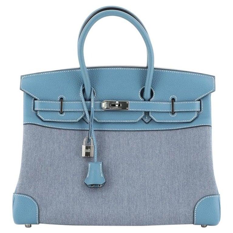 Hermes Birkin Handbag Toile Jean and Bleu Jean Clemence with Palladium Hardware  For Sale
