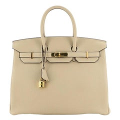 Hermes Birkin Handbag Trench Togo with Gold Hardware 35