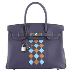 Hermes Birkin Handbag Tressage Bleu Encre Swift and Palladium Hardware 30