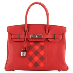 Hermes Birkin Handbag Tressage Rouge De Coeur Swift And Palladium Hardware 30