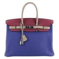Hermes Birkin Handbag Tricolor Togo with Palladium Hardware 35