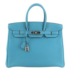 Hermes Birkin Handbag Turquoise Togo with Palladium Hardware 35