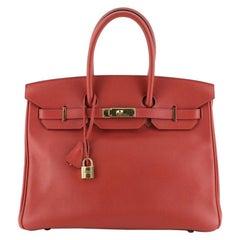 Hermes Birkin Handbag Vermillion Swift with Gold Hardware 35