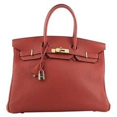 Hermes Birkin Handbag Vermillon Togo with Gold Hardware 35