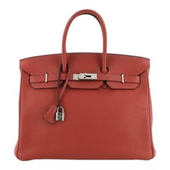 Hermes Birkin Handbag Vermillon Togo with Palladium Hardware 35