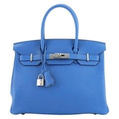 Hermes Birkin Handbag Verso Clemence with Palladium Hardware 30