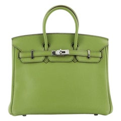 Hermes Birkin Handbag Vert Anis Togo With Palladium Hardware 25