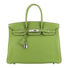 Hermes Birkin Handbag Vert Anis Togo with Palladium Hardware 35