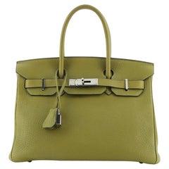 Hermes Birkin Handbag Vert Chartreuse Clemence with Palladium Hardware 30
