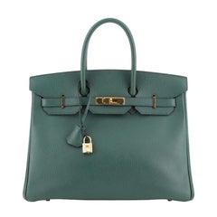Hermes Birkin Handbag Vert Clair Ardennes with Gold Hardware 35
