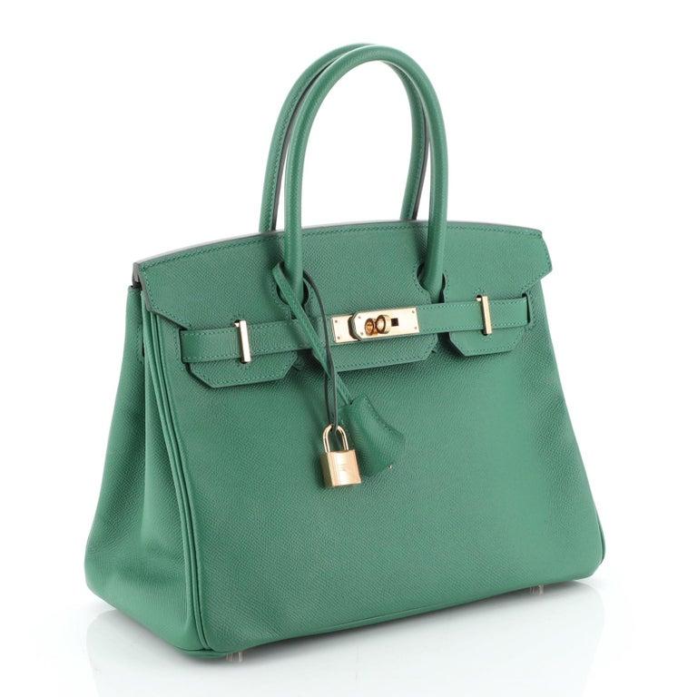 Hermes Birkin Handbag Vert Vertigo Epsom with Gold Hardware 30 In Good Condition For Sale In New York, NY