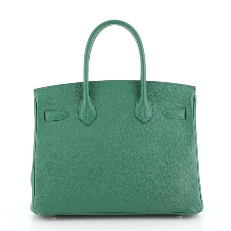 Women's or Men's Hermes Birkin Handbag Vert Vertigo Epsom with Gold Hardware 30 For Sale