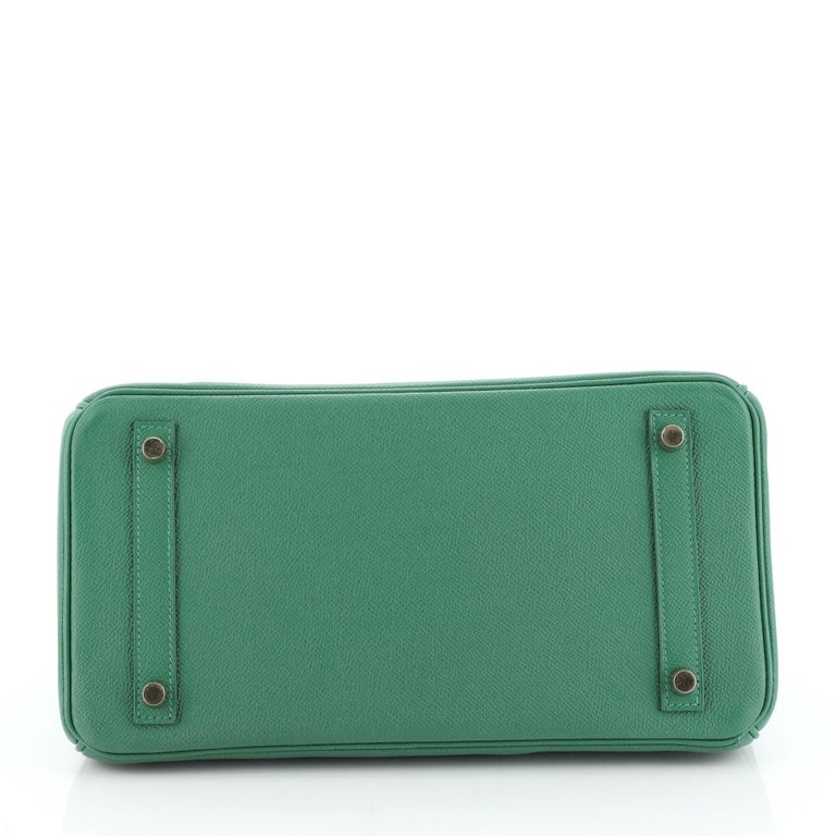 Hermes Birkin Handbag Vert Vertigo Epsom with Gold Hardware 30 For Sale 1