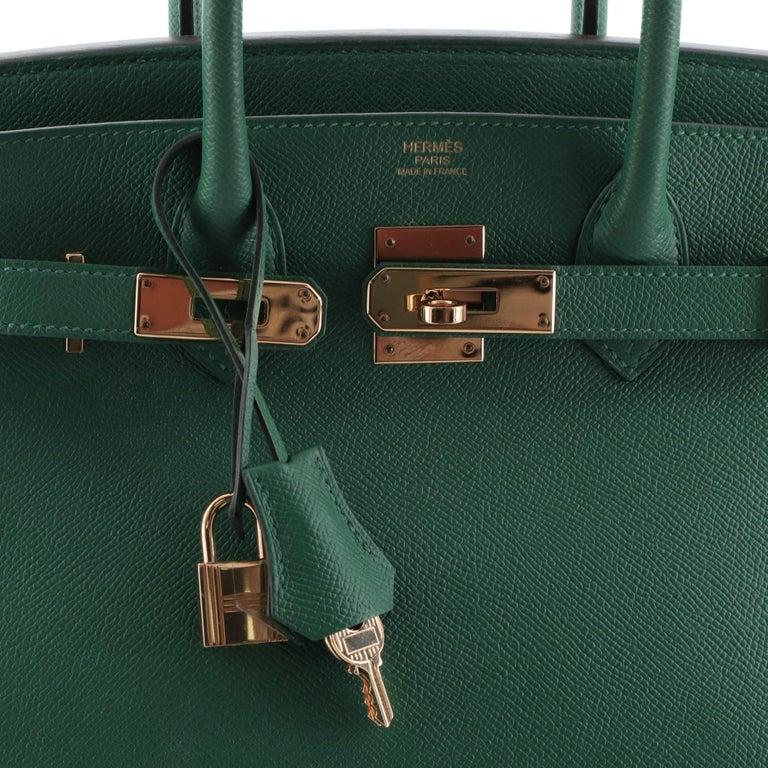 Hermes Birkin Handbag Vert Vertigo Epsom with Gold Hardware 30 For Sale 3