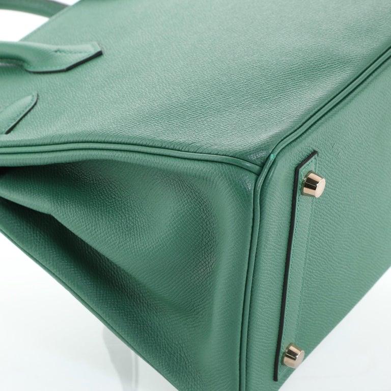 Hermes Birkin Handbag Vert Vertigo Epsom with Gold Hardware 30 For Sale 5