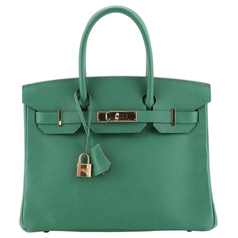Hermes Birkin Handbag Vert Vertigo Epsom with Gold Hardware 30 For Sale