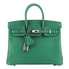 Hermes Birkin Handbag Vert Vertigo Swift With Palladium Hardware 25