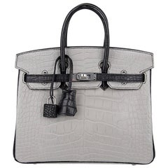 Hermes Birkin HSS 25 Bag Gris Perle / Black Matte Alligator Palladium Hardware