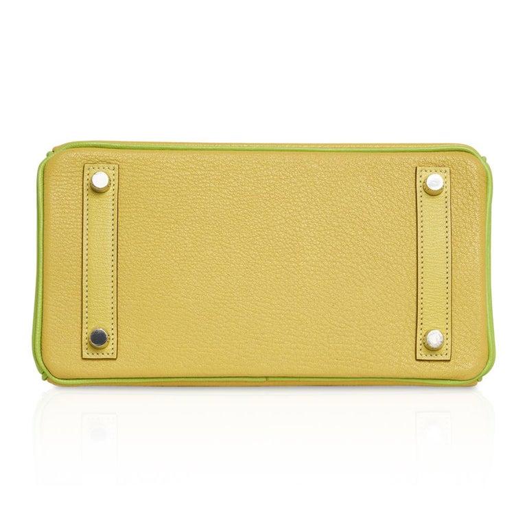 Hermes Birkin HSS 25 Bag Lime / Kiwi Palladium Hardware Chevre Leather 5